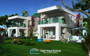 3+1 Luxurios apartments for sale in Ortakent, Bodrum